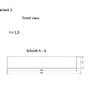 Versandmetall Edelstahlwanne Reihe 1 Ecken dicht geschweißt und gebeizt, Edelstahl 1,5mm h=80mm axb 500x700mm AUSSEN  Schliff K320 - Varianten auswählbar