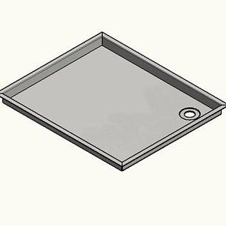 Versandmetall RVS douchebak, douchebak 1,5 mm INTERNE snede K320, diepte vanaf 500 mm, breedte vanaf 600 mm, 1 of 2 afvoeropeningen, verschillende hoogtes