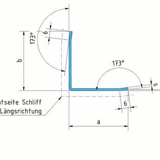 Versandmetall 1,25m Eckschutzwinkel modern 3-fach gekantet, für Mauerecken und Kanten Länge 1250 mm spiegelnd