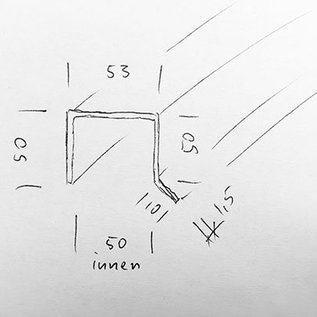 Versandmetall -Speciaal U-profiel gemaakt van 1,5 mm roestvrij staal 3-voudig geslepen, oppervlak buiten met gemalen korrel 320 INNERLIJKE MASSA axx 48,5 x 50 x 48,5 / 10 mm lengte 2000 mm, volgens schets