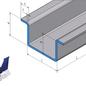 -Profil spécial chapeau en acier inoxydable de 1 mm, grain 320 brossé, a et b 20 mm c30 mm L = 600 mm à une extrémité fermée (soudé et teinté)