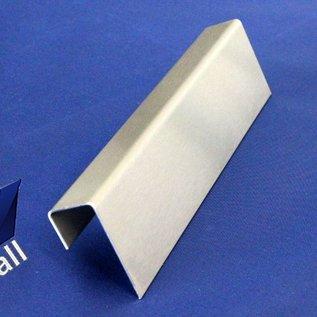 Versandmetall U-profiel niet gelijk aan t = 1,5 mm Afmetingen buiten a = 21,5 mm c = 23 mm b = 11,5 mm Lengte 1500 mm Vlakslijpkorrel 320