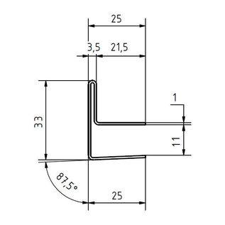 Versandmetall Gouttière de toit vitré 8,52mm, pour verre de sécurité feuilleté de 10 ou 10,76mm, acier inoxydable 1.4301, surface brossé  en grain320
