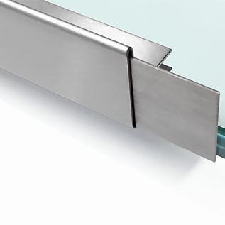 Versandmetall dakgoot Roestvrij Staal vor glasdakken 10 mm buiten voor veiligheidsglas van 18mm of 10,52mm Materiaal 1.4301,Geschuurd(grid320)8,52