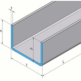 Versandmetall - Profilé en U en acier inoxydable, axe plié à 90 ° 25x150x25mm 2,0 mm L = 1410mm Surface 2R (miroir IIID)