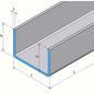 Versandmetall - RVS U-profiel 90 ° gevouwen axb 25x150x25mm 2,0 mm L = 1410mm Oppervlakte 2R (IIID-spiegeling)