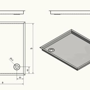 Versandmetall Receveur de douche en acier inoxydable, receveur de douche {R3A} 1,5mm, rectification intérieure K320, profondeur 790 mm, largeur 790 mm, 1 ou 2 trous de drainage, hauteur 30mm
