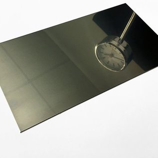 1 pièce ébauche de laser en acier inoxydable 1.4301, miroir, 2R brillant (IIID) largeur 347mm, hauteur 323mm en losange avec découpe au laser B-232mm H-117m. coins extérieurs R2