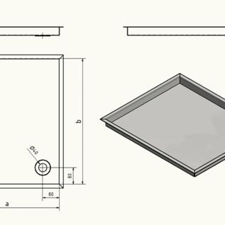 Versandmetall Receveur de douche en acier inoxydable, receveur de douche {R3A} 1,5mm, rectification intérieure K320, profondeur 790 mm, largeur 790 mm, 1 ou 2 trous de drainage, hauteur 30mm - Copy