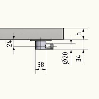 Versandmetall Roestvrijstalen douchebak, douchebak {R3A} 1,5 mm, inwendig slijpen K320, rand 20 mm, diepte 800 mm, breedte 800 mm, 1 afvoergat in het midden, hoogte 60 mm