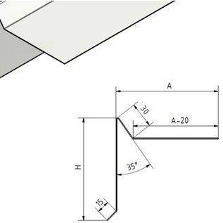 Versandmetall Plaque de gouttière - acier inoxydable, tranchant 3 fois, surface avec grain rectifié 320 Dimensions spéciales: H 80mm A 100mm Longueur 2000mm