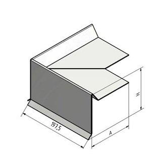 Versandmetall Dakgootplaat - roestvrij staal 90 ° 3-voudig geslepen, oppervlak met grondkorrel 320 Speciale afmetingen: H 80 mm A 100 mm lengte 2000 mm