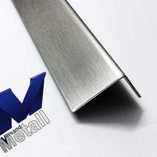 Versandmetall Sonder  Edelstahlprofil aussen Schliff K320  mm 90°  - 15/22/130/80 mm L=2000mm