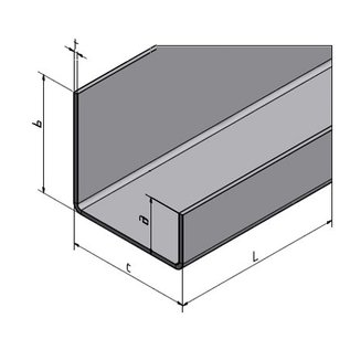 Versandmetall U-profiel ongelijk t = 2,0 mm a = 20 mm c = 50 mm (binnen 46 mm) b = 30 mm 1250 mm lang buitenvelling K320