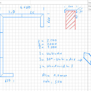 Versandmetall -Set [environ 13 m] Couvercle mural en blanc Alu de 1 mm (Al99.5) largeur 200 mm hauteur 25 mm longueurs 2x 2500mm, 3x2000mm, 2x1000mm, 3 connecteurs, 2x raccordements muraux, 3x 90 ° Gerhungsverbinder