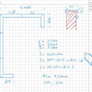 Versandmetall -Set [ongeveer 13 m] Wandafdekking van 1 mm Alu blank (Al99.5) breedte 200 mm hoogte 25 mm lengtes 2x 2500 mm, 3 x 2000 mm, 2x1000 mm, 3 connectoren, 2x muuraansluiting, 3x 90 ° Gerhungsverbinder