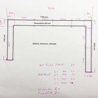Versandmetall -Set [ 12,85 mtr ] Mauerabdeckung aus 1mm Alu antrazit ( RAL 7016) Breite 270mm a/b 25mm  4St  2,0m  1 St 1,405m  1 St 1,05m 1x St 0,9m,  8 St  Verbinder,  2 St Endstück, 2 St 90° Ecke