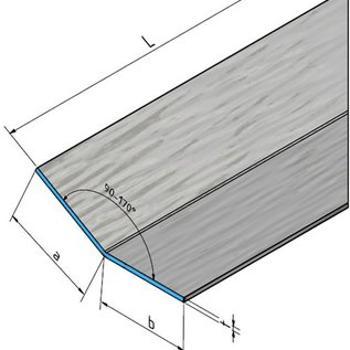 Versandmetall Set (15 st, = 22,5 m) aluminium hoek unilateraal antraciet 90 ° 1,5 mm, axb 285x95 mm lengte 1500 mm