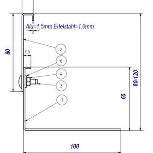 Versandmetall Oberteile für Kiesfangleiste Edelstahl höhenverstellbar 1.4301 H =80mm L=2000mm – 90° gekantet