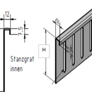 Versandmetall Bovenste delen voor grindvanger roestvrij staal in de hoogte verstelbaar 1.4301 H = 80 mm - 90 ° gevouwen