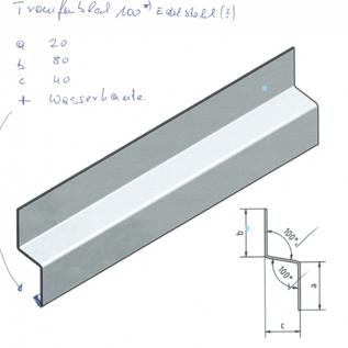 Versandmetall Z-Profil  Traufblech 100° aus Edelstahl  2-fach gekantet Materialdicke 1,5 mm axcxb 20 x 80 x 40mm  Länge 2000 mm Aussen Schliff K320
