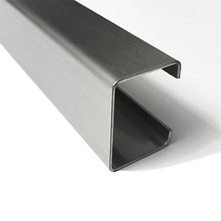 Versandmetall -Profil spécial C en acier inoxydable de 1,0 mm, finition de surface K320 Dimensions 150/333/500/333 / 150mm, longueur 120mm