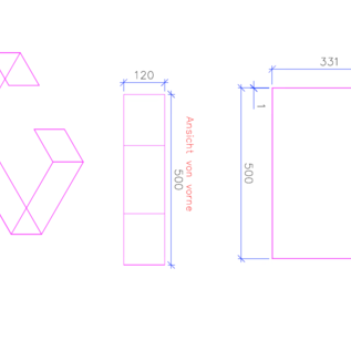 Versandmetall -Sonder  C-Profil aus 1,0mm Edelstahl , Oberfläche Schliff K320 Maße 150/331/500/331/150mm, 120mm lang