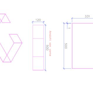 Versandmetall -Speciaal C-profiel gemaakt van 1,0 mm roestvrij staal, oppervlakteafwerking K320 Afmetingen 150/333/500/333 / 150 mm, 120 mm lang
