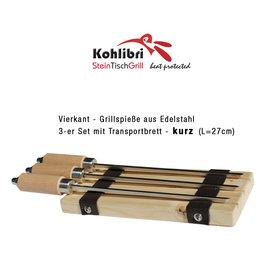 Kohlibri SteinTischGrill 3 brochettes carrées courtes pour le Kohlibri SteinTischGrill