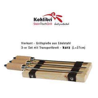 Kohlibri SteinTischGrill 3-set vierkante spiesjes kort voor de Kohlibri SteinTischGrill