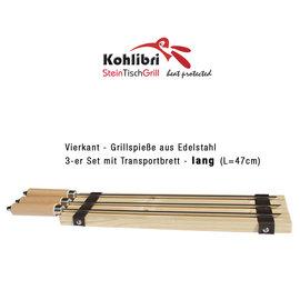 Kohlibri SteinTischGrill Trois brochettes carrées longues pour le Kohlibri SteinTischGrill
