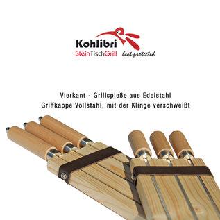 Kohlibri SteinTischGrill 3-set vierkante spiesen lang voor de Kohlibri SteinTischGrill
