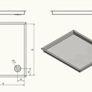 Versandmetall -Edelstahl Duschwanne, Duschtasse { R3A } 1,5mm, INNEN  Schliff K320, Tiefe 700 mm, Breite  900 mm, 1 oder 2 Ablaufbohrungen, Höhe 80mm