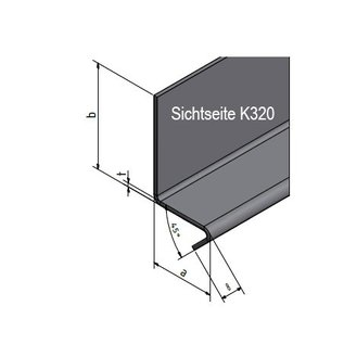 Versandmetall Corniere 92,5° avec larmier à l'avant 1,0 mm, axb 60 x 60mm, L jusqu'à 2500mm surface brossè en grain K320