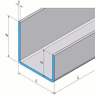 Versandmetall Profil en U inégale à pattes t = 1,5mm Mesures extérieures a = 21,5mm c = 23mm b = 11,5mm Longueur 2000mm grain de meulage en surface 320