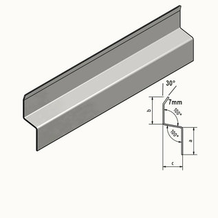 Versandmetall Z-profiel Traufblech 100 ° gemaakt van roestvrij staal 2-voudig gevouwen Materiaaldikte 1,5 mm axcb 25 x 30 x 25 mm Lengte 2000 mm Buitengrond K320