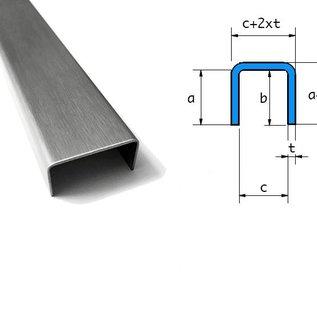 Versandmetall Set (5-delig) U-profiel van 1,5 mm roestvrij staal, gekantelde binnenafmetingen axcxb 38,5x22x38,5 mm, oppervlakteafwerking K320: 2x L = 2410 mm 1 uiteinde gesloten; 1x 2410 mm uiteinden open; 2x 1861 mm aan beide zijden gesloten, gelast Stinrseiten gelas