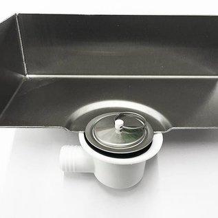 Versandmetall Roestvrijstalen douchebak, douchebak {R1A} 1,5 mm, inwendig slijpen K320, diepte 700 mm, breedte 700 mm, 1 of 2 afvoergaten, hoogte 100 mm