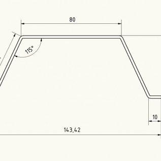 Omega-profiel [181210 90P0101] gemaakt van 2 mm roestvrij staal, geborsteld graan 320, h 50 mm c 80 mm L = 1000 mm