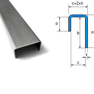 Versandmetall -Set (22 St) Speciaal U-profiel gemaakt van 1,0 mm roestvrijstalen randen Oppervlakteafwerking K320 Binnenafmetingen axcxb 15x18x35mm, lengte: 20x1250mm 2x2000mm