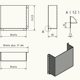 Versandmetall Türtasche, Türablage groß, aus 1,5mm Aluminium blank  90° BxHxT 400x220x85mm (40x22x8,5cm)