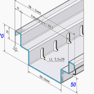Versandmetall Afvoerkanaal vorm B2 van aluminium inlaatbreedte 150 mm, hoogte 70 mm, bestelhoeveelheden 10m, 20m, 30m, 40m, 50m