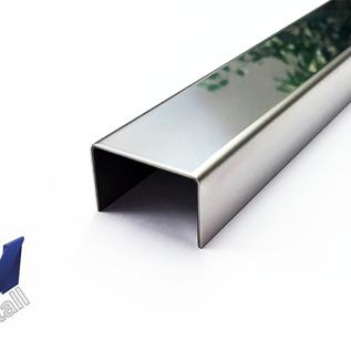 Versandmetall Jeu [30 pièces] Profilé en U en acier inoxydable réfléchissant (2R IIID) dimensions intérieures axcxb 7x25x7mm, fini de surface K320 de 2500mm de long
