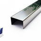 Versandmetall Set [18st] U-profielhoek gemaakt van spiegelend (2R IIID) roestvrij staal Binnenafmetingen axcxb 7x25x7mm, 2x500mm lang verstek, gestikt - niet geslepen