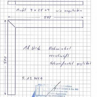 Versandmetall Ensemble [18pc] Profilé en U en acier inoxydable spéculaire (2R IIID) Dimensions intérieures axcxb 7x25x7mm, 2x500mm de long à onglet, cousues - non rectifiées