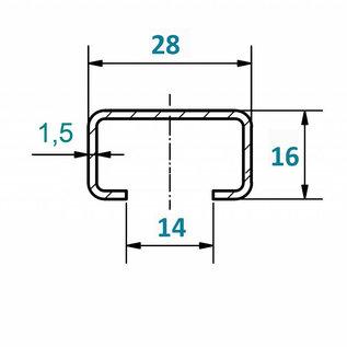 Versandmetall C-Profil klein gebürstet, Höhe 16mm Breite c= 28mm Länge 1000 -2500mm aus 1,5mm Edelstahl K320