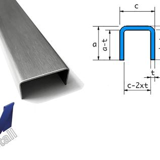 Versandmetall Sonder  U-Profil aus 1,5 mm Edelstahl , Oberfläche Schliff K320 Aussenmaße  axcxb 20x400x20mm, 500mm  lang