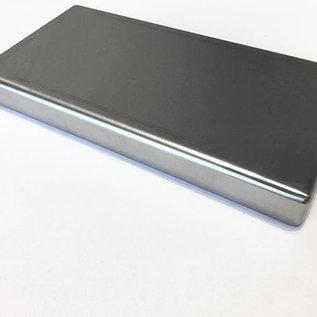 Versandmetall Restposten: Sonder-Edelstahlwanne Reihe 1 Ecken geschweißt 1,5mm h=20mm axb 700x300mm  einseitig -  Schliff  AUSSEN K320