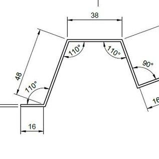 -Sonder-Hutprofil aus 1,5mm Edelstahl, gebürstet Korn 320, nach Skizze  L= 1000mm