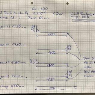 Versandmetall - Set (15 delen) roestvrijstalen delen 1,0 mm volgens schets 6x U-profiel 2m 20/225 / 30mm 6x hoek 2m 110 / 10mm 2x gesneden 1,5 m 150 * 1,0 mm 1x gesneden 1 m 225x1,0 - Copy